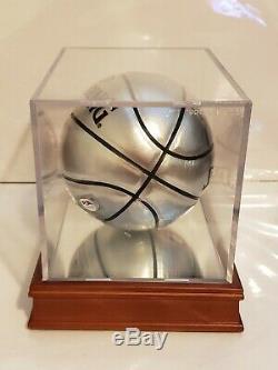 Larry Bird Signé Nba Argent Mini Basket-ball Avec Affichage De Cas D'oiseaux Holo Et Psa Coa