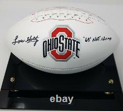 Lou Holtz Signé Ohio State Logo Football Insc Fanatics Coa 516 Display Case