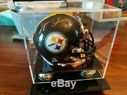 Lynn Swann Autographed Mini Pittsburgh Steelers Avec Casques Coa Et Cas D'affichage