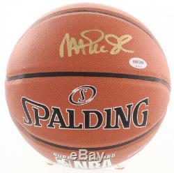 Magic Johnson Signé Basketball Avec Psa Coa Présentoir Nba Spalding / Plaque Signalétique