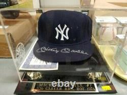 Mickey Mantle Autograph New York Yankees Hat Withcoa And Display Case
