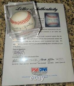Mickey Mantle Signé Al Brown Baseball N ° 7 Insc Autographed Psa Letter Coa