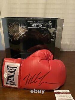 Mike Tyson Autograph Everlast Gant Avec Display Case Heavyweight Champ Jsa Coa