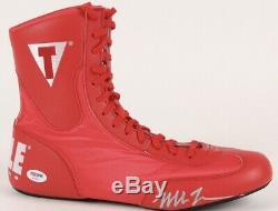 Mike Tyson Signé Titre De Boxe Boot Psa / Adn Coa Avec Le Cas D'affichage