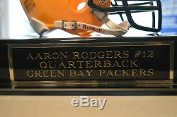 Mini Casque Aaron Rodgers, Signé Par Un Autographe, Dans Un Étui D'affichage Avec Plaque Signalétique Coa