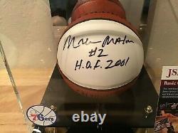 Moses Malone 76ers Signé Mini-basketball Avec Vitrine & Nameplatejsa Coa