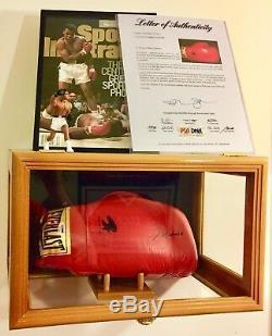 Muhammad Ali Mint Signé Gant De Boxe Psa Coa & Gratuit 80 $ Vitrine En Verre De Chêne