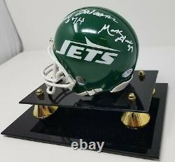 New York Jets Sack Exchange Multi Signé Mini Casque Psa Coa 023 Display Case