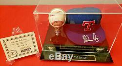 Nolan Ryan Texas Rangers Autographié Signé Hat & Baseball En Cas D'affichage W Coa