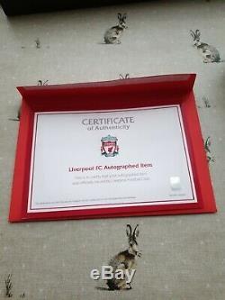 Officiel Mo Salah Signé Boot En Cas D'affichage Avec Lfc Coa Liverpool