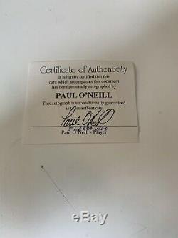 Paul O'neill Autographiés 1996 World Series Baseball Yankees Présentoir Coa