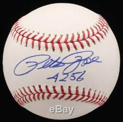 Pete Rose Signé Oml Baseball Avec Affichage De Cas Psa Coa Inscribed 4256 9 E Année