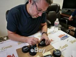 Peter Forsberg Autographié Avalanche Puck Avec Affichage Deluxe Cas Lsm Coa