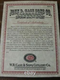 Rare 2011 Case XX Couteau John D Case Sons Edition Limitée #39/100 In Display Coa