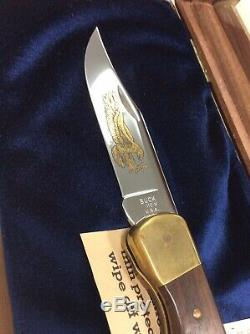 Rare Collection Buck Modèle 110 Golden Eagle Couteau Withdisplay Cas N ° 44 De 250 Coa