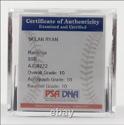 Rare Nolan Ryan A Signé Angels Logo Baseball Avec Vitrine Psa Coa Classé 10