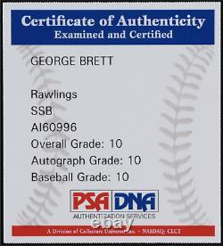Rare Psa 10 George Brett Oml Baseball With Display Case (mlb Hologram & Psa Coa)