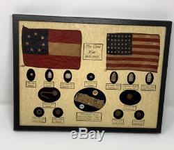 Reliques De La Guerre Civile, Des Balles, Harmonica Reed En Cas D'affichage (16 Pièces) Avec Coa