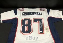 Rob Gronkowski Jsa Autographiés Patriots Jersey Coa Avec Vitrine