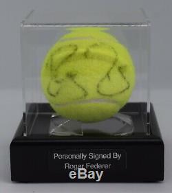 Roger Federer Signature Autograph Balle De Tennis Présentoir Wimbledon Aftal Coa