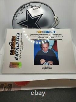 Roger Staubach Signé Autographié Dallas Cowboy Mini Casque Withcoa & Case D'affichage