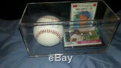 Ron Santo Autographed Ball & Display Case & 70,72,74 Cartes Topps Coa (romlb)