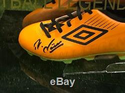 Rudi Völler Signé Football Boot Roma Werder Bremen Allemagne Présentoir Coa