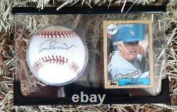 Signé Dec La Dodgers Tommy Tom Lasorda New Mlb Baseball Withcard Display Cas Coa