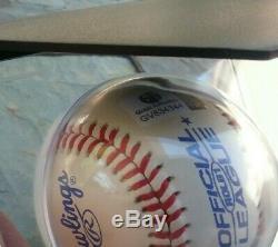 Signé Dodgers Kirk Gibson Baseball Et Carte D'affichage 88 Cas Ws Hero Preuve Gai Coa