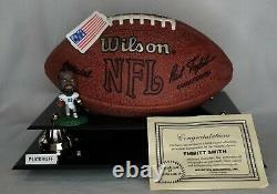 Smith # 22 Emmitt Signé NFL Football Dallas Cowboys Présentoir Coa
