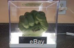 Stan Lee Signé Incredible Hulk Main Gant Fist Lighted Personnalisé Présentoir Coa