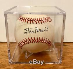 Stan Musial Autographié / Signé Baseball Avec Coa / Display Place 2002 Case Mickey