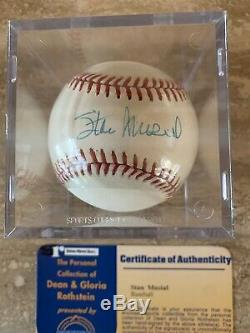 Stan Musial Coa Steiner Autographé ML Baseball Avec Étui D'affichage