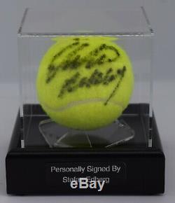 Stefan Edberg Signé Autograph Tennis Ballon Vitrine Wimbledon Aftal Coa