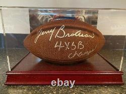 Terry Bradshaw Autographié Football 4x Sb Champs Champs Avec Display Case Premium Coa