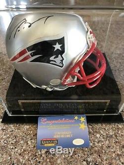 Tom Brady Signé Mini Casque Display Patriots Case Buccaneers Authentique Auto Coa