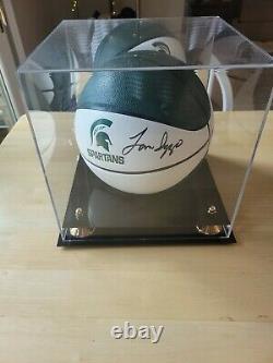Tom Izzo Autographié Basketball Michigan State Spartans Coa Avec Boîtier D'affichage