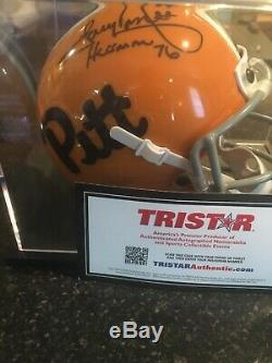 Tony Dorsett Auto Heisman 76 Inscription Pitt Mini Casque Présentoir Avec Coa