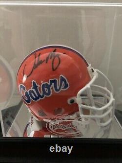 Urban Meyer Signé Florida Gators Mini Helmet. Autographe Aveccoa Et Vitrine
