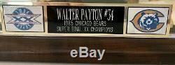 Walter Payton Dédicacé Signé Chicago Bears Mini Casque Coa + Housse D'affichage