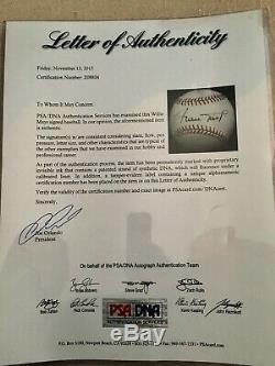 Willie Mays Psa / Adn Autographed Baseball Coa En Cas D'affichage